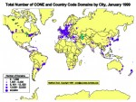 Total number of CONE and country code Domain by city, January 1999