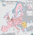 Map of the 258 Urban Audit Cities