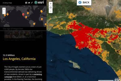 Los Angeles's  urban footprint today